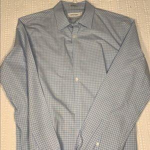Calvin Klein Blue Plaid Dress Shirt